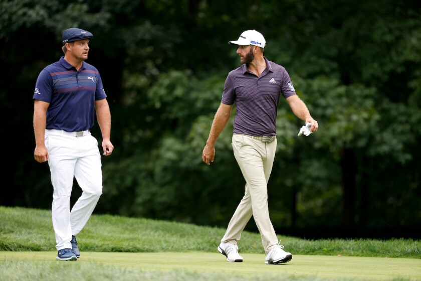 Bryson DeChambeau and Dustin Johnson at 2020 U.S. Open