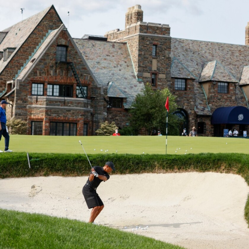 Tiger Woods practices before the 2020 U.S. Open at Winged Foot