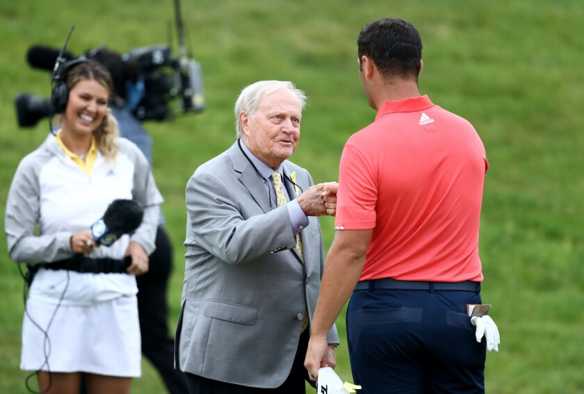 Jon Rahm and Jack Nicklaus at 2020 Memorial Tournament