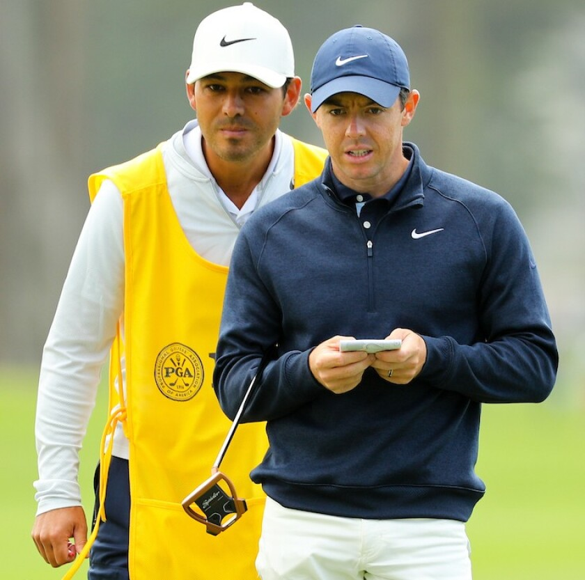 Rory McIlroy and caddie Harry Diamond at 2020 PGA Championship