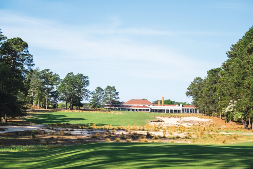 The 18th hole at Pinehurst No. 2