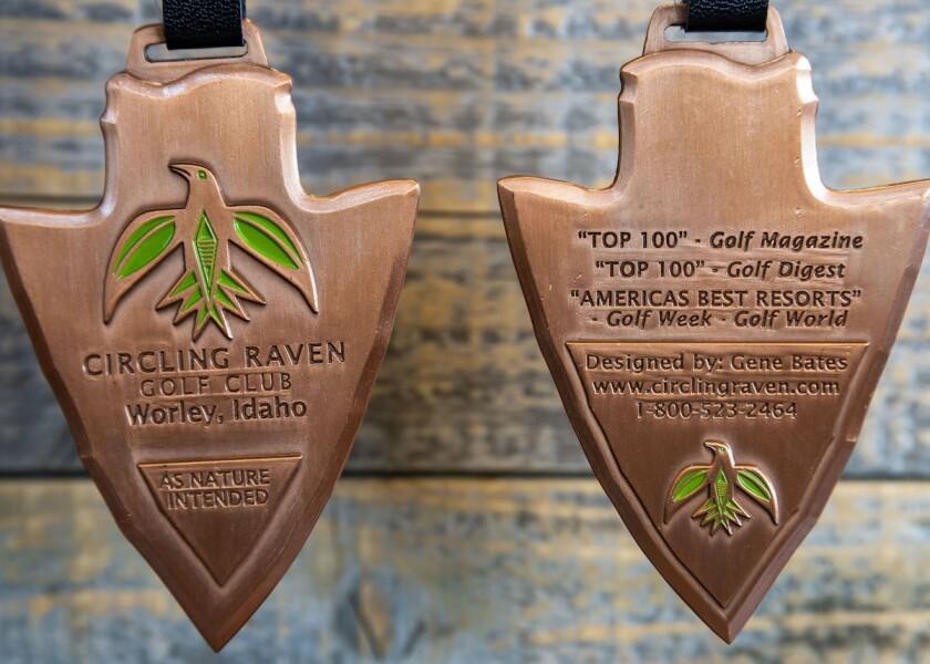 Circling Raven Golf Club engraved arrowhead bag tag