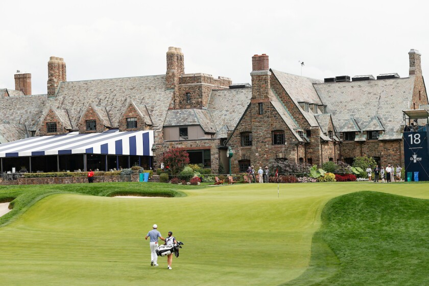 Lee Westwood on 18th hole at Winged Foot in 1st round at 2020 U.S. Open