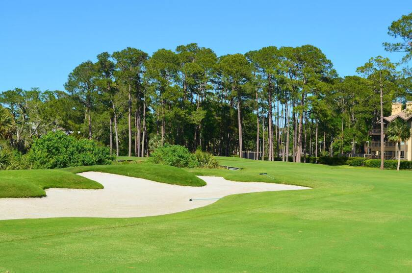 Sea Pines Country Club's 18th hole and its resized bunker