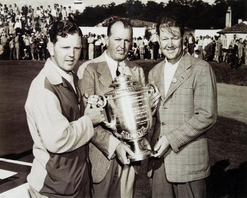 Sammy Byrd, PGA president Ed Dudley and 1945 PGA champion Byron Nelson