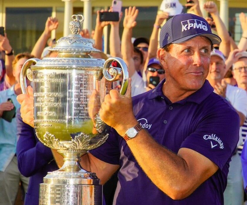 Phil Mickelson with Wanamaker Trophy at 2021 PGA Championship Kiawah Island Ocean Course