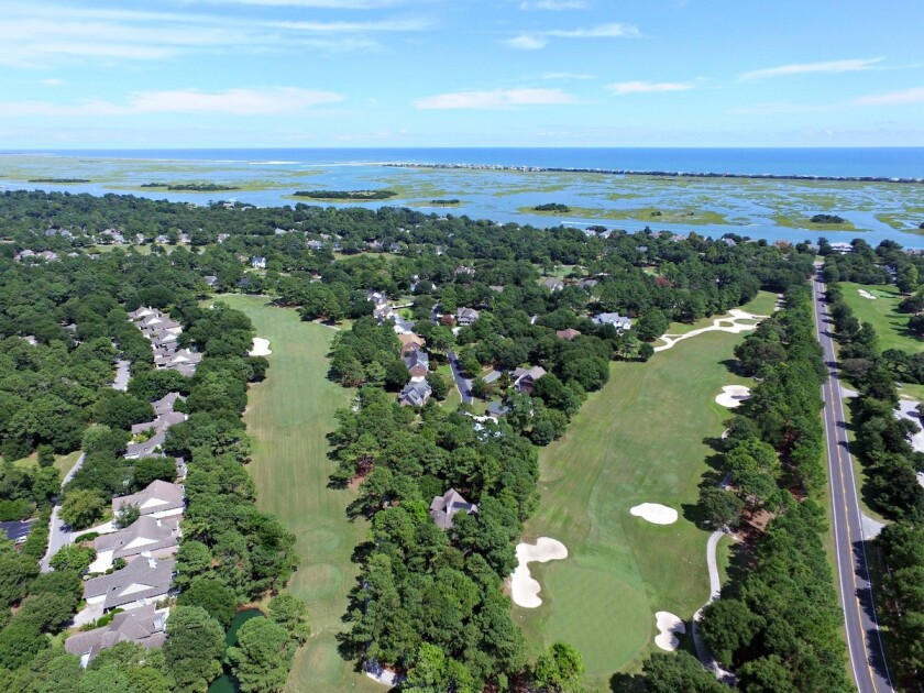 Aerial view 10th and 18th holes at Porters Neck Country Club in Wilmington, N.C.