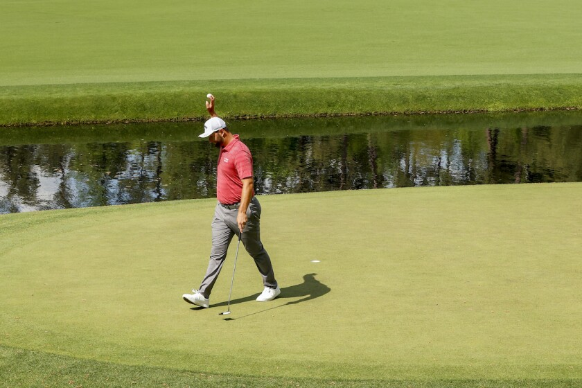 Jon Rahm makes birdie at 12th hole in final round of 2021 Masters
