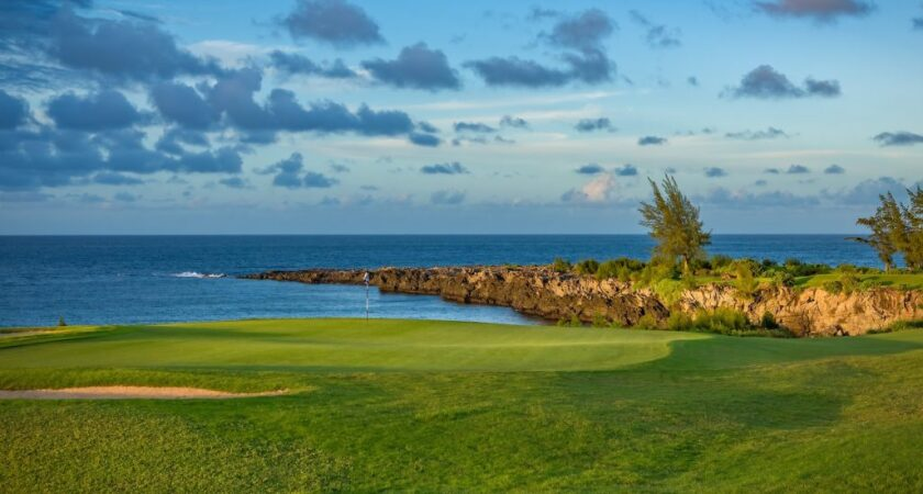 The 17th hole at Kapalua's Bay Course in Maui, Hawaii