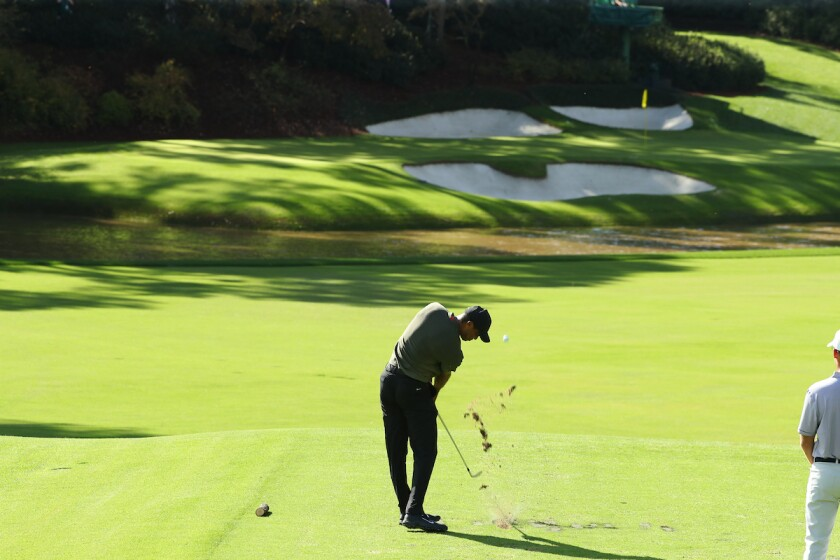 Tiger Woods plays 12th hole 2020 Masters