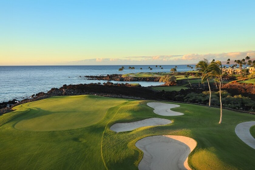 The 13th hole at Mauna Lani Golf's South Course in Hawaii