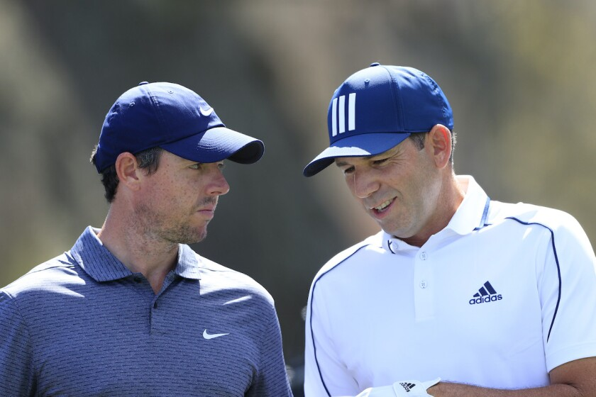Rory McIlroy and Sergio Garcia at 2021 Players Championship Round 1