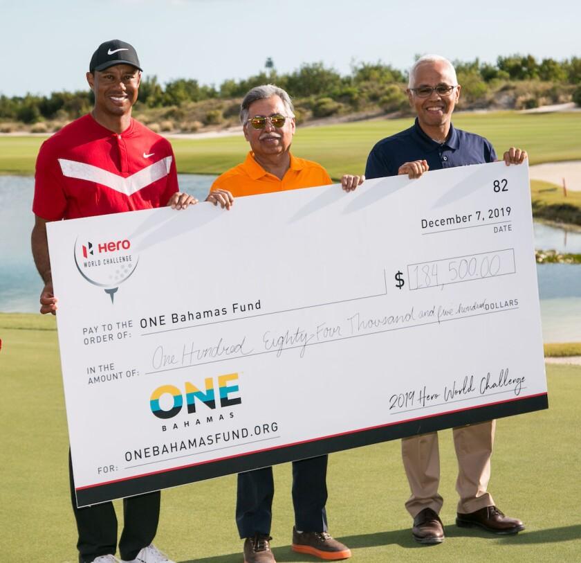 Tiger Woods OBF check presentation at Hero World Challenge