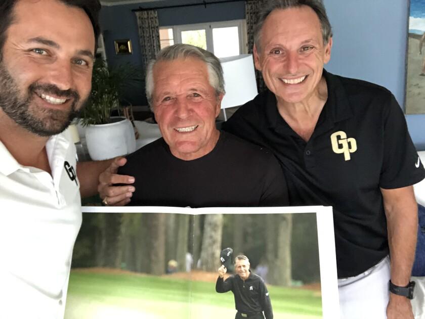 GolfPlayed app creator Andrew Georgiou with Gary Player and dad Tony Georgiou
