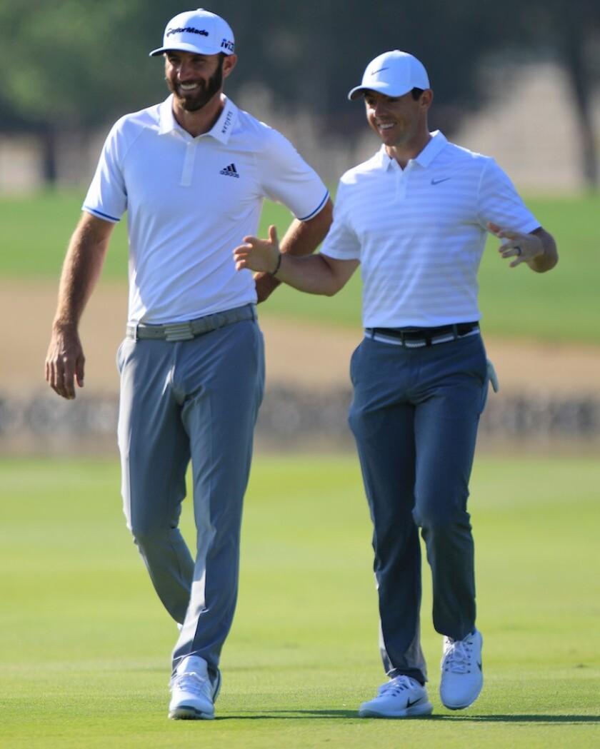 Dustin Johnson (USA) and, Rory McIlroy (NIR) - Abu Dhabi HSBC CH 2018 - PI-180118-0463.jpg