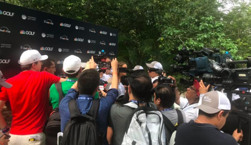 Golf media scrum