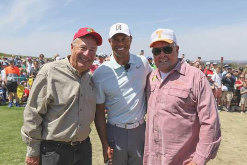 Johnny Morris, golf icon Tiger Woods and fishing legend Bill Dance