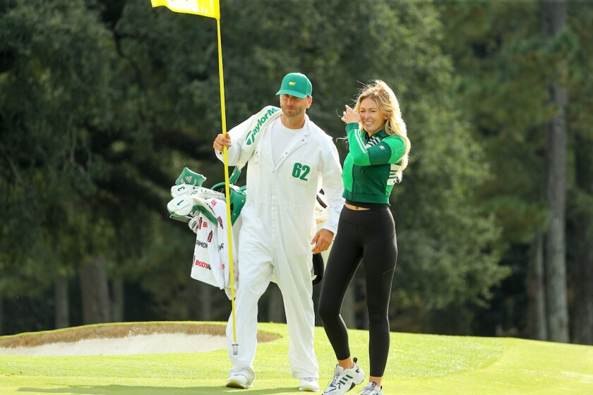 Caddie Austin Johnson and Paulina Gretzky at 2020 Masters