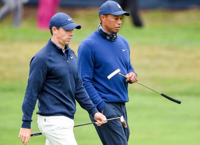 Rory McIlroy and Tiger Woods at 2020 PGA at Harding Park