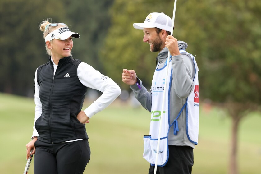 Jessica Korda and caddie Kyle Morrison at 2021 L.A. Open