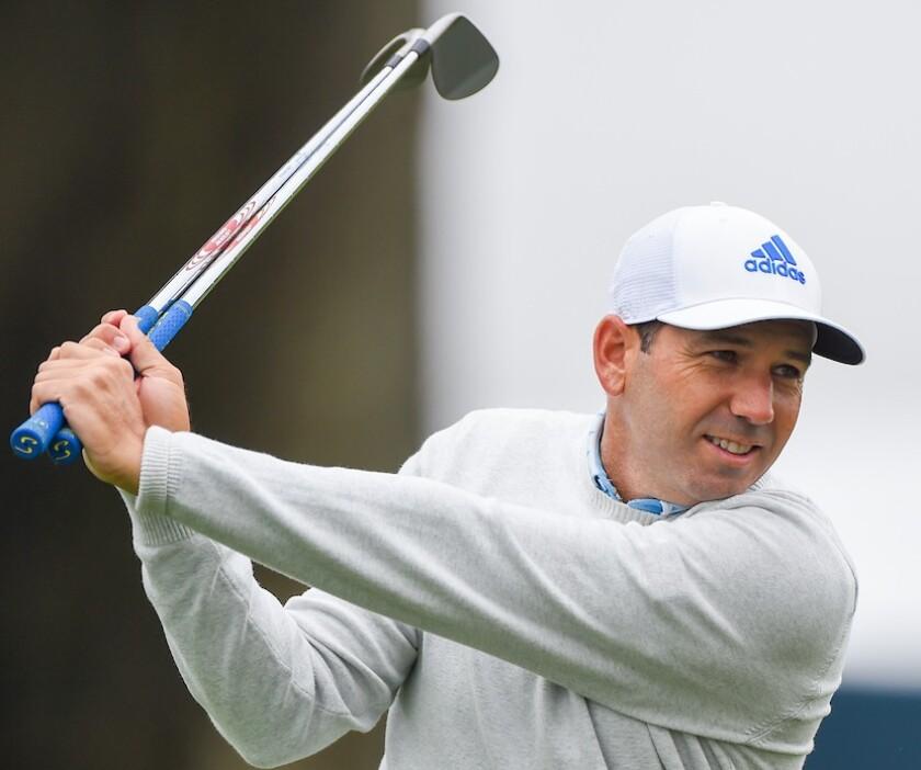 Sergio Garcia warms up at 2020 PGA Championship