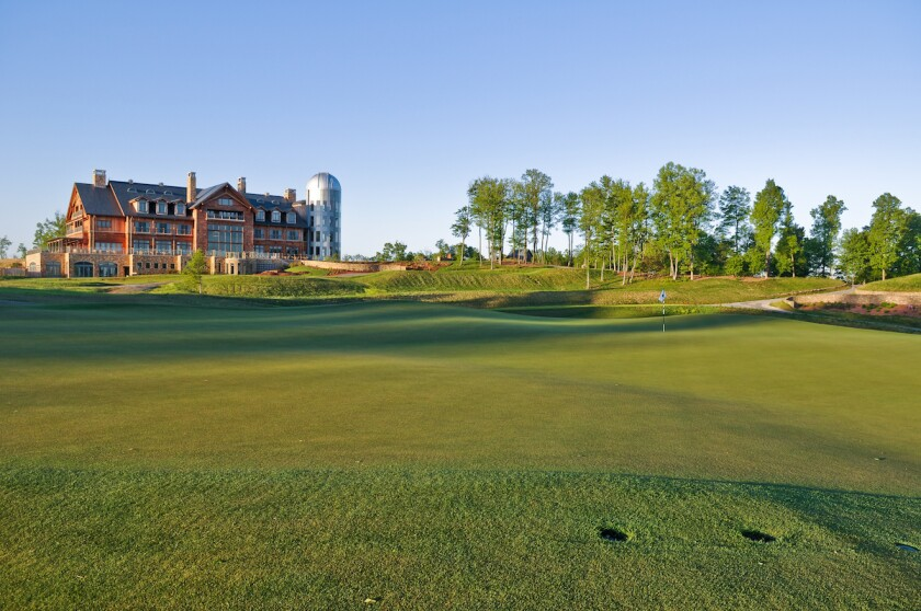 Primland's Lodge, with golf green in foreground