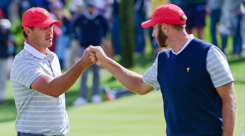 Brooks Koepka and Dustin Johnson at 2017 Presidents Cup