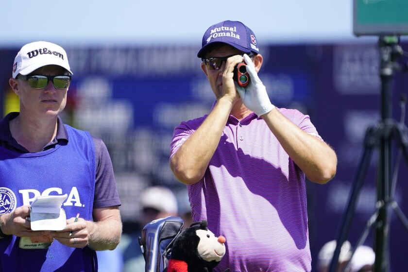 Padraig Harrington uses rangefinder at 2021 PGA Championship