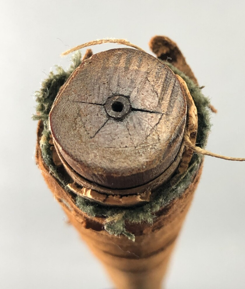 Old Tom Morris steel-core shaft driver — interior view