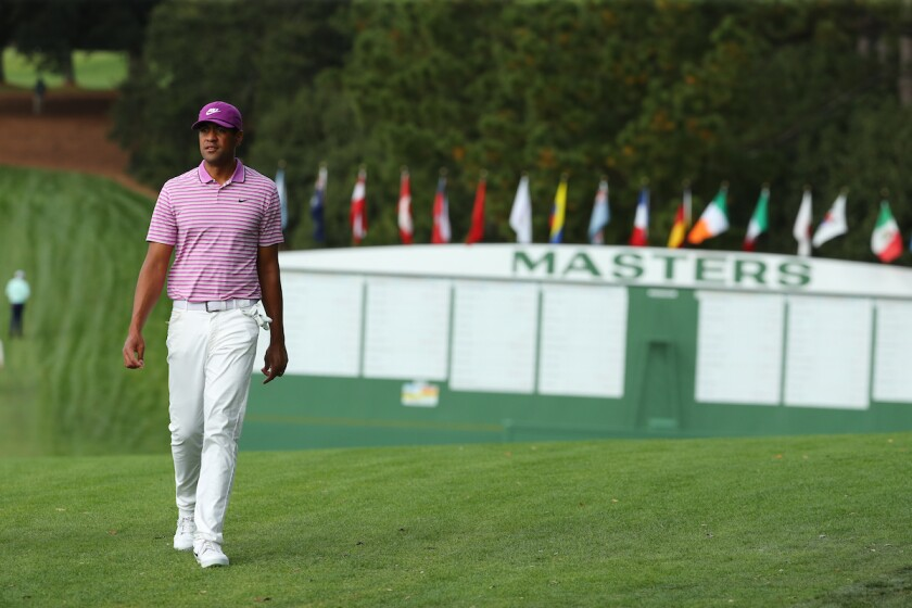 Tony Finau at Augusta National for 2020 Masters
