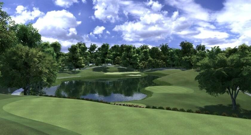 12th hole at Muirfield Village Golf Club on Full Swing GOLF Software