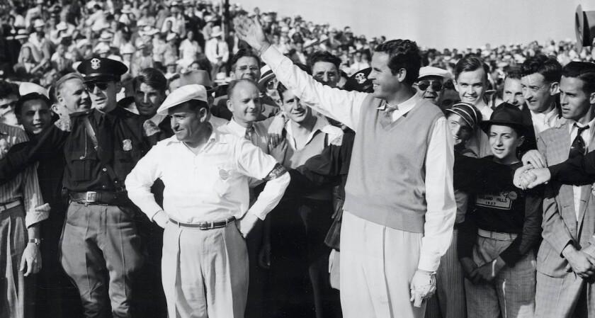 Ralph Guldahl salutes gallery at Oakland Hills after winning 1937 U.S. Open