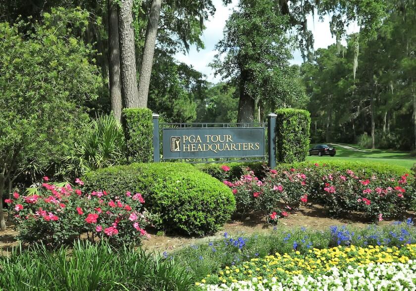 PGA Tour headquarters entrance in Ponte Vedra Beach, Fla.