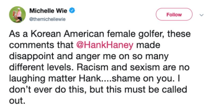 Michelle Wie Tweet on Hank Haney comment