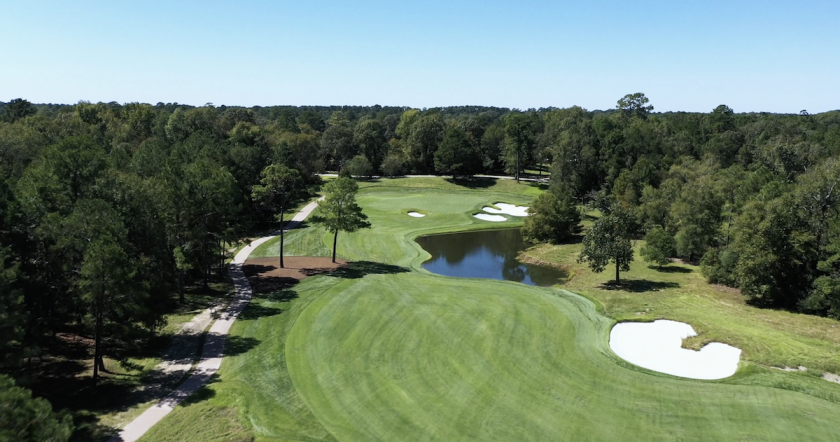 The 7th hole at Whispering Pines Golf Club in Trinity, Texas