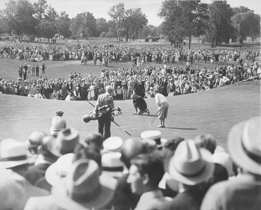 Bobby Jones putt to tie for lead 72nd hole 1929 U.S. Open at Winged Foot