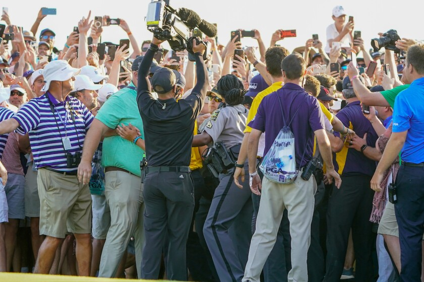 Crowd on 18th hole of final round at 2021 PGA Championship at Kiawah Island's Ocean Course