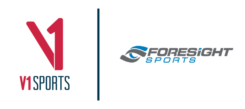 V1 Sports and Foresight Sports combined logo