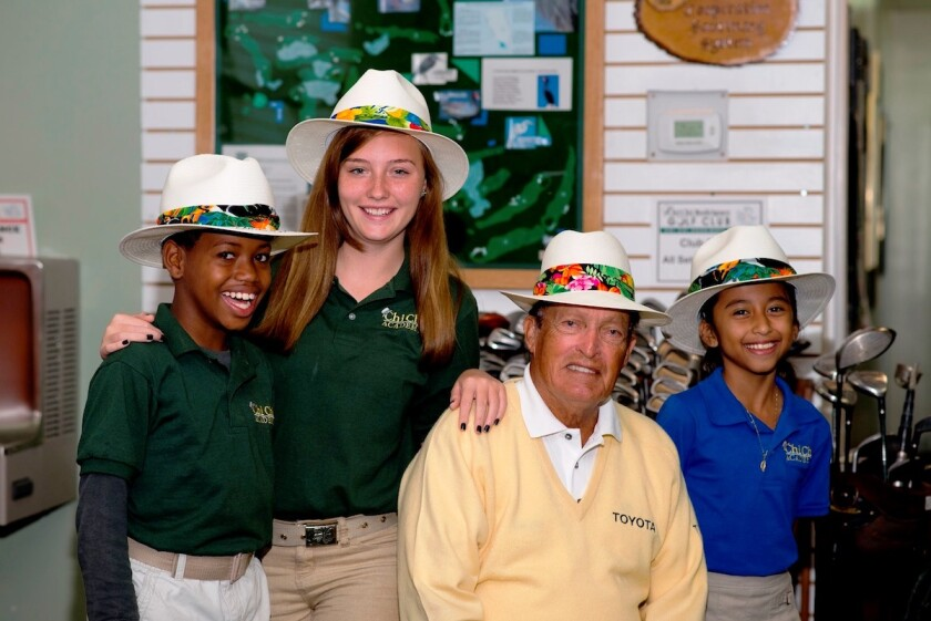 Chi Chi Rodriguez and some of the kids from his foundation