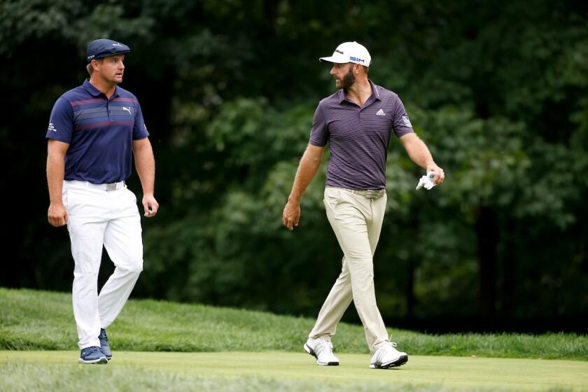Bryson DeChambeau and Dustin Johnson at 2020 U.S. Open