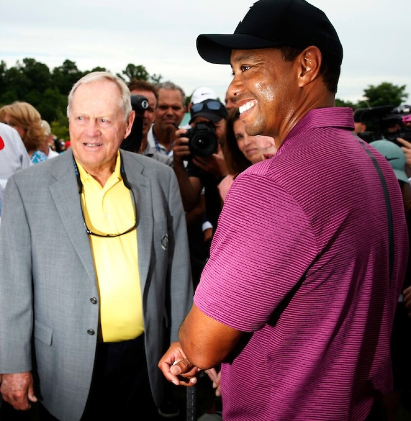 Jack Nicklaus and Tiger Woods at the Masters