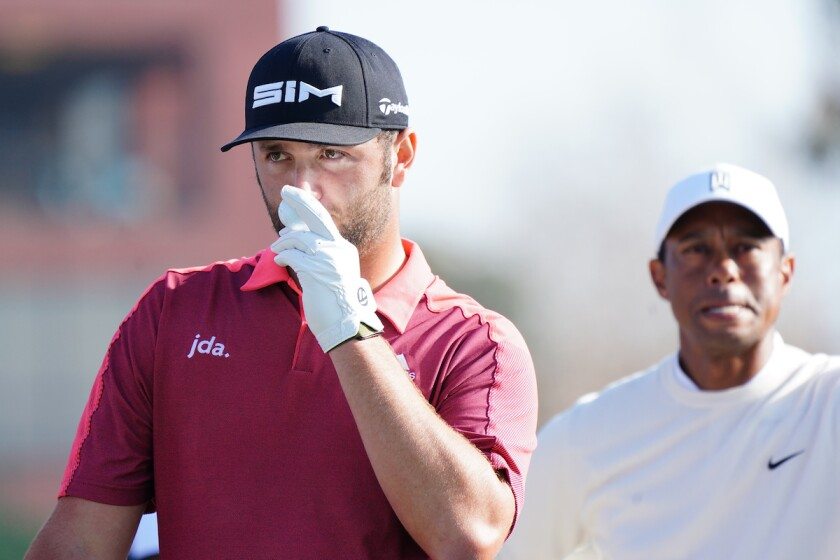Jon Rahm and Tiger Woods at 2020 Farmers Insurance Open