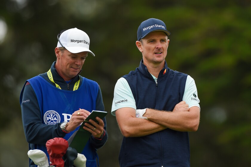 Justin Rose and caddie Gareth Lord at 2020 PGA Championship