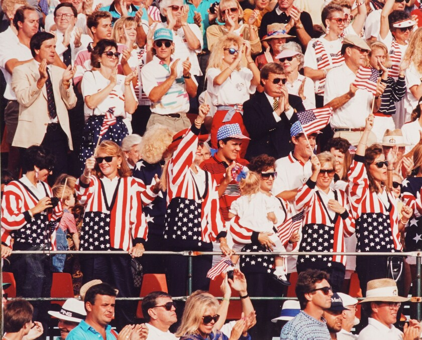 A partisan American crowd cheers at 1991 Ryder Cup