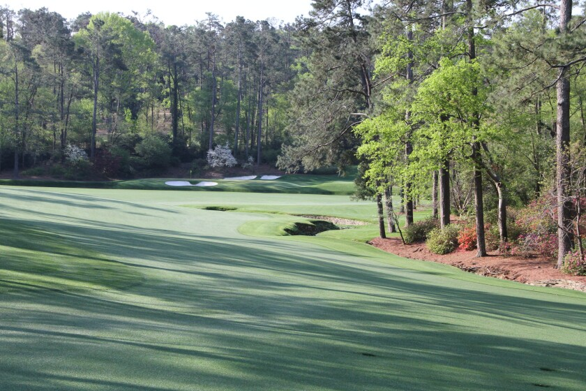 View from near the green at Augusta National's 13th hole