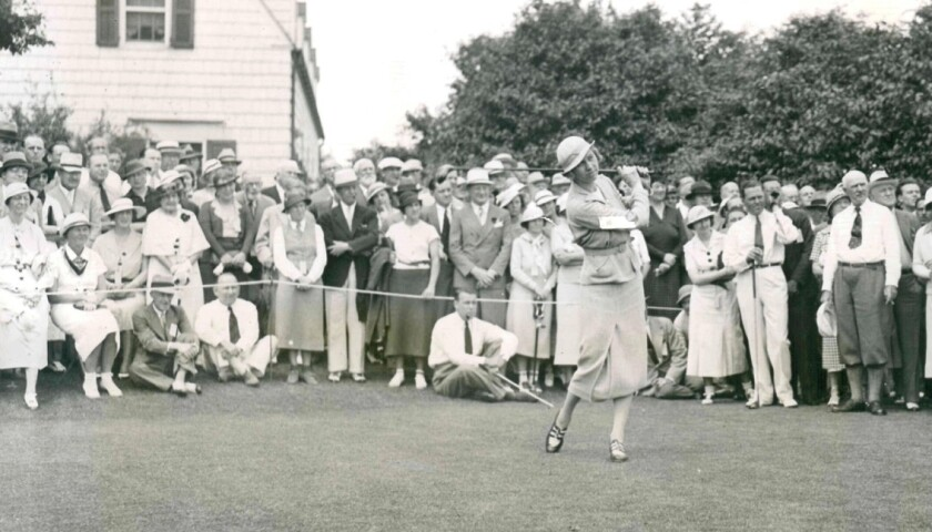 Joyce Wethered in a 1935 exhibition match on Long Island