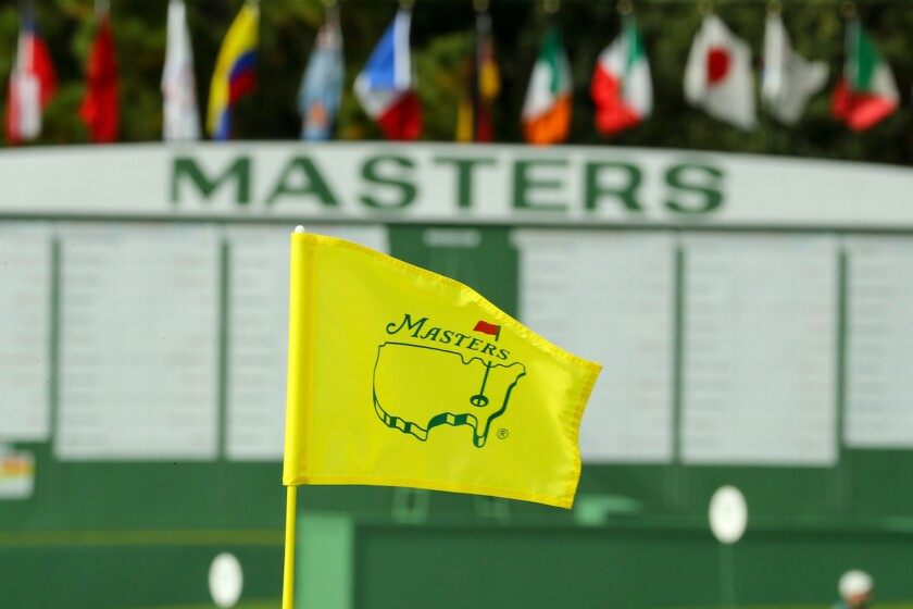 Masters flag and scoreboard