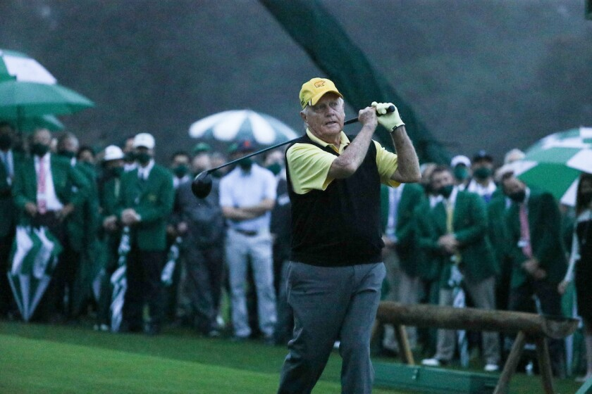 Jack Nicklaus ceremonial tee shot to start 2020 Masters
