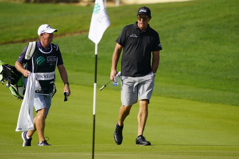 Phil Mickelson at pro-am before 2021 Saudi International