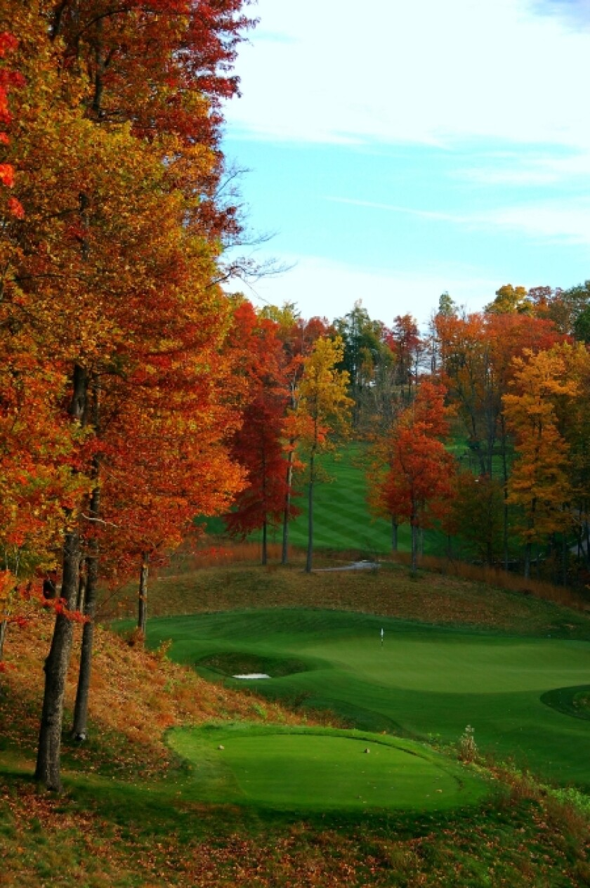 Fall colors on The Highland Course at Primland